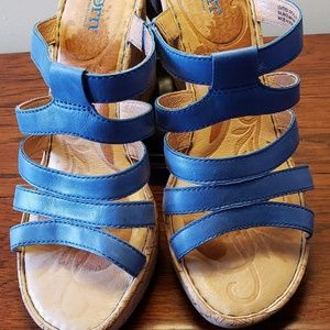 Born Lisi Sea Blue Leather and Cork Wedges